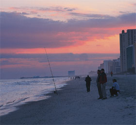 Myrtle Beach, South Carolina, photo fishing on the beach
