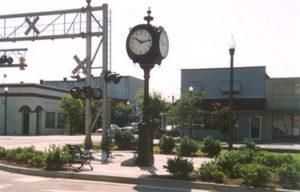 Photo of clock near the railroad in Loris, SC